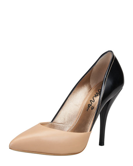 Bicolor Pointed Single-Sole Pump, Black/Tan