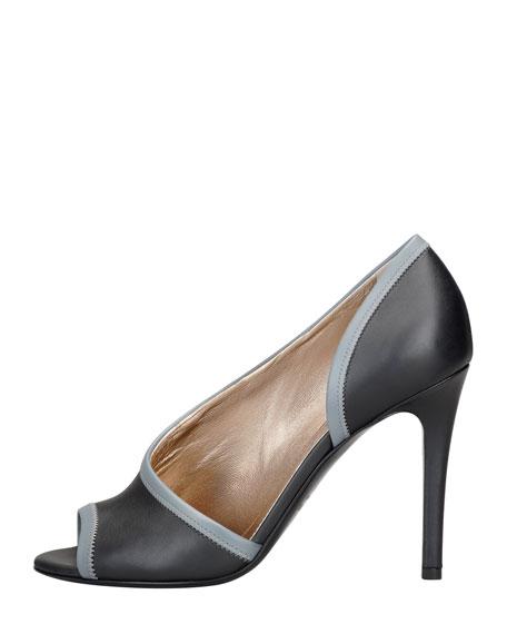Peep-Toe d'Orsay Pump, Black/Gray
