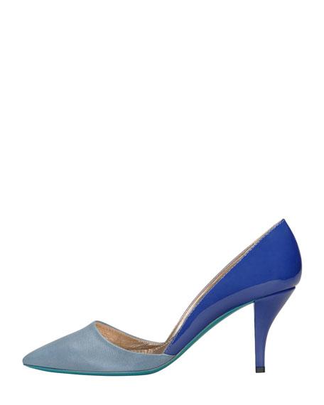 Low-Heel Bicolor Pointed Single-Sole Pump, Blue