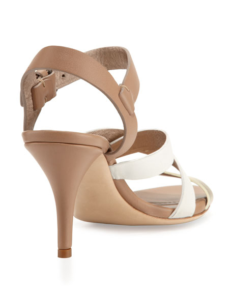 Low-Heel Strappy Leather Sandal, Off White