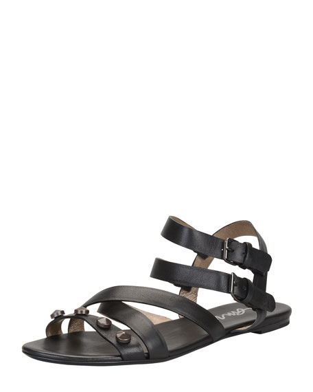 Studded Double-Buckle Flat Sandal, Black