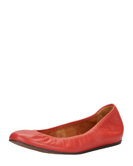 Lanvin Scrunched Leather Ballerina Flat, Poppy