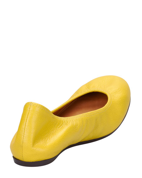 Scrunched Leather Ballerina Flat, Yellow
