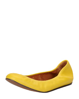 Lanvin Scrunched Leather Ballerina Flat, Yellow