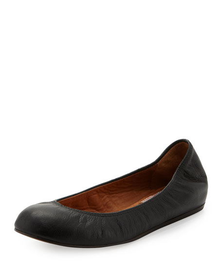 Scrunched Leather Ballerina Flat, Black