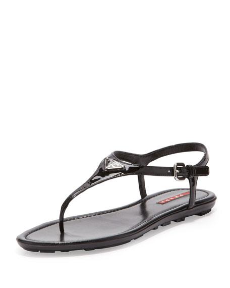 Patent Leather Thong Sandal, Black