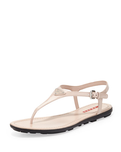 Prada Patent Leather Thong Sandal, Nude