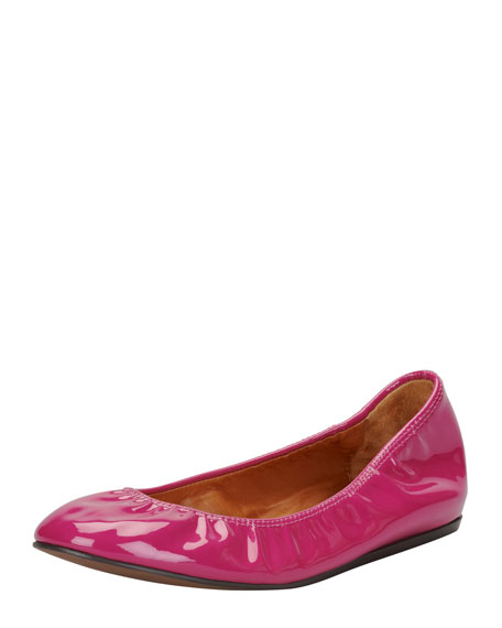Patent Leather Ballerina Flat, Fuchsia