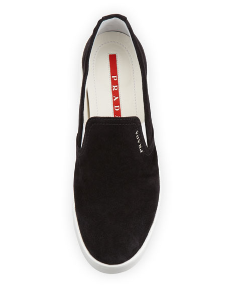 Prada Suede Slip-On Sneaker, Black