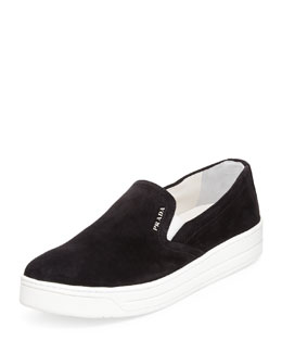 Prada Suede Slip-On Sneaker, Black