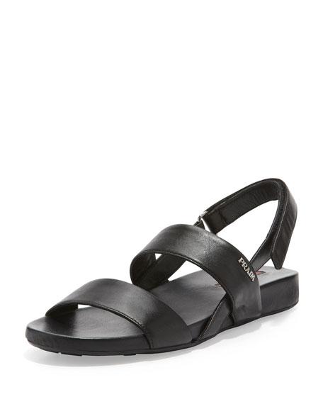 Napa Double-Banded Flat Sandal, Black