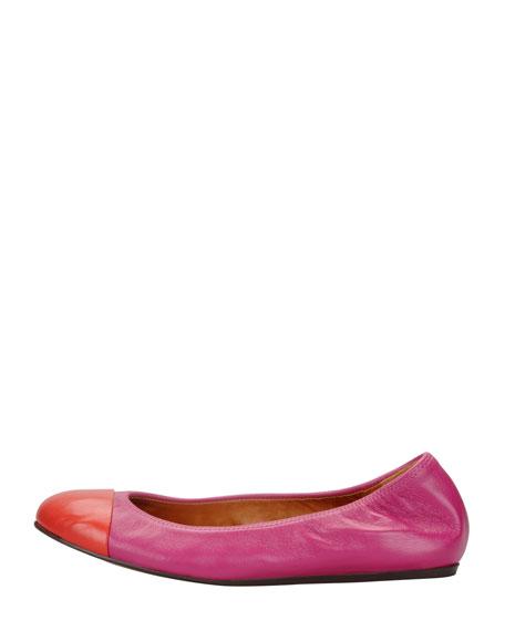 Cap-Toe Scrunched Lambskin Ballerina Flat, Fuchsia/Red