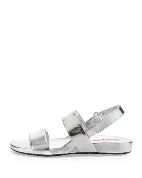 52610d2fb07 Prada Metallic Double-Band Flat Sandal