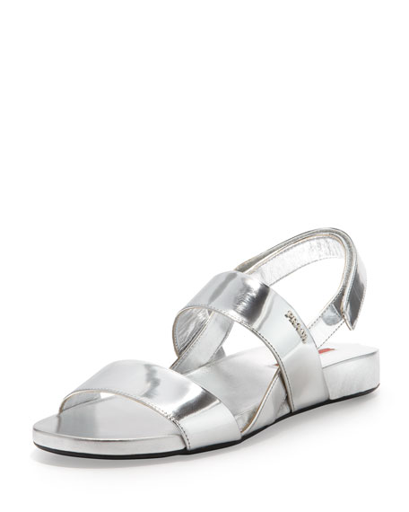 Prada Metallic Double-Band Flat Sandal, Silver