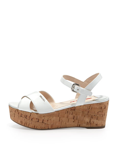 Patent Crisscross Cork Platform Sandal, White
