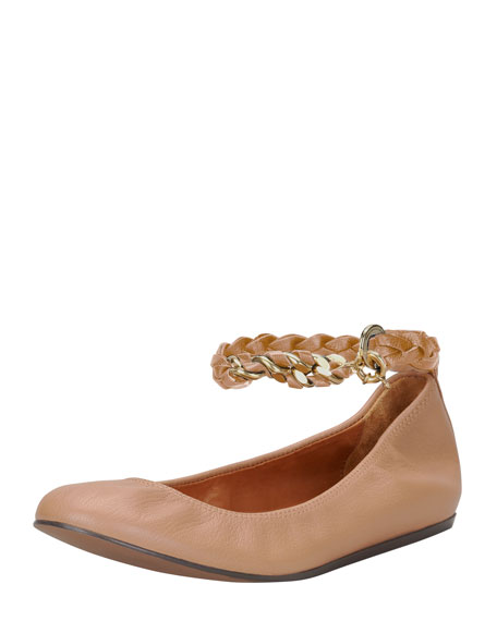 Chain-Strap Leather Ballerina Flat, Nude