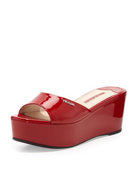 Patent Leather Flatform Slide, Red