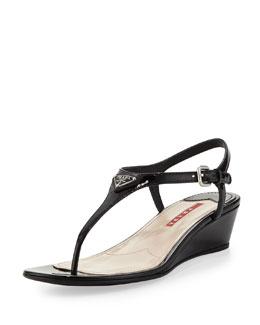 Prada Patent Demi-Wedge Thong Sandal, Black