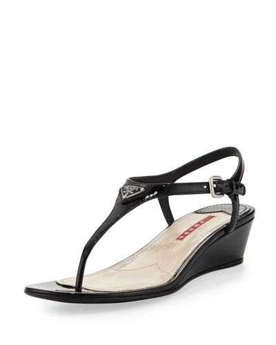 Prada Patent Demi-Wedge Thong Sandal, Black