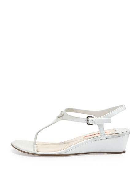 Patent Demi-Wedge Thong Sandal, White