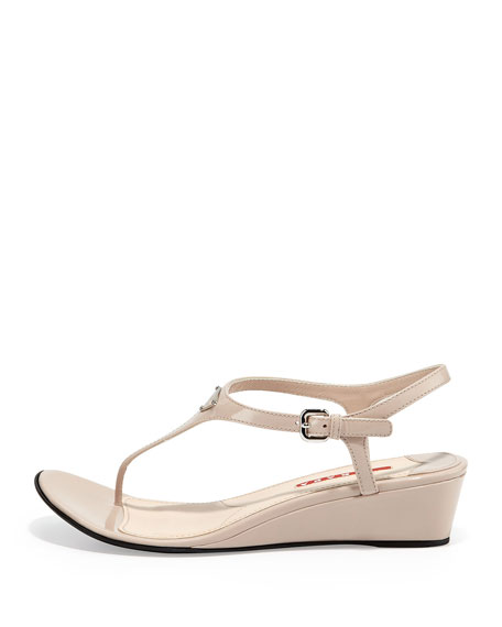 4f6cecf5474 Prada Patent Demi-Wedge Thong Sandal