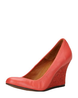 Lanvin Ballerina Wedge Pump, Red