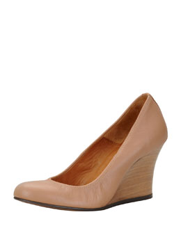 Lanvin Ballerina Wedge Pump, Nude