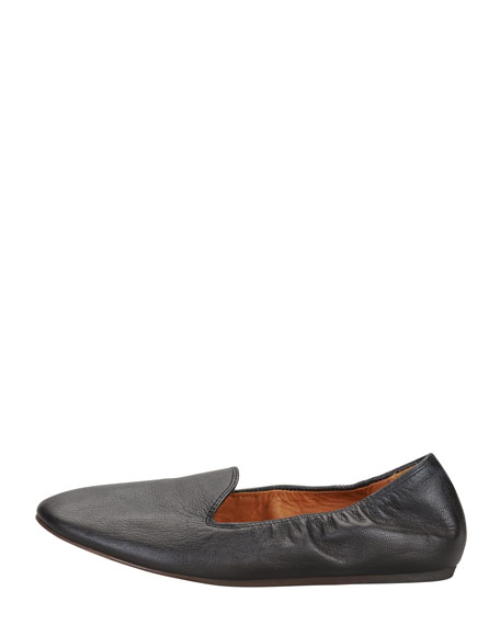 Grained Kidskin Flat Loafer, Black