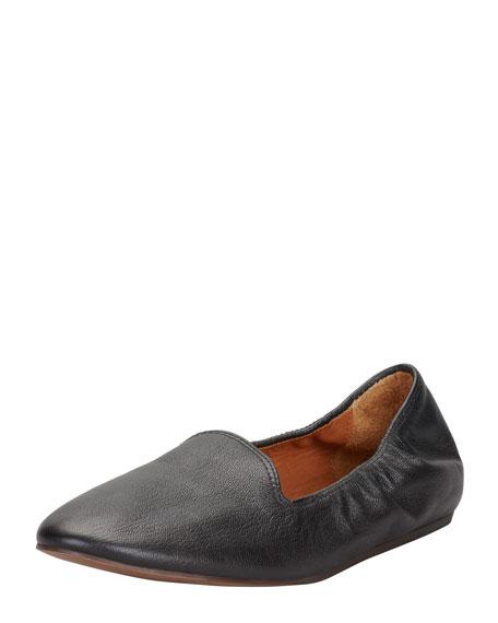 Grained Kidskin Flat Loafer, Black