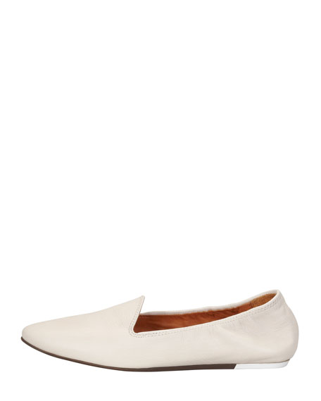 Grained Kidskin Flat Loafer, White