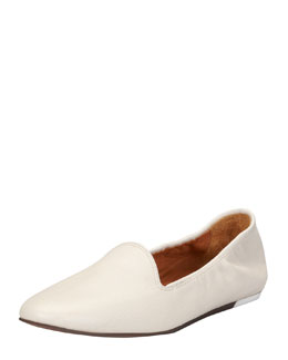 Lanvin Grained Kidskin Flat Loafer, White