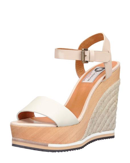 Wooden Espadrille Wedge Sandal, White