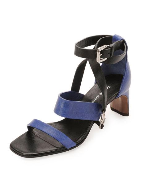 Lambskin Claw Ankle-Wrap Sandal, Black/Blue