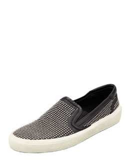 Saint Laurent Studded Slip-On Sneaker, Black