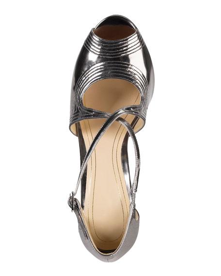 Jovie Metallic Leather Sandal, Armor