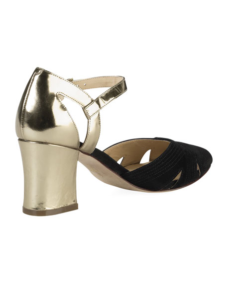 Jovie Low-Heel Sandal, Black/Gold
