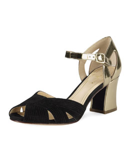 Cole Haan Jovie Low-Heel Sandal, Black/Gold
