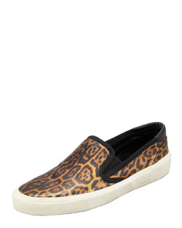 Saint Laurent Metallic Leopard Slip-On Sneaker, Golden