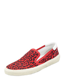Saint Laurent Leopard Canvas Slip-On Sneaker, Red