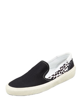 Saint Laurent Solid/Leopard Canvas Slip-On Sneaker, Black/White