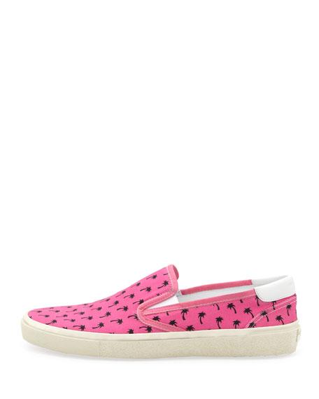 Saint Laurent Palm-Print Slip-On, Pink/Black