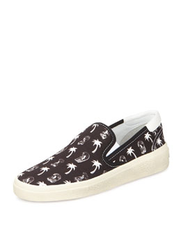 Saint Laurent Surf & Palm-Print Slip-On Sneaker, Black/White
