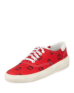 Saint Laurent Blood Luster Lace-Up Sneaker, Red/Black