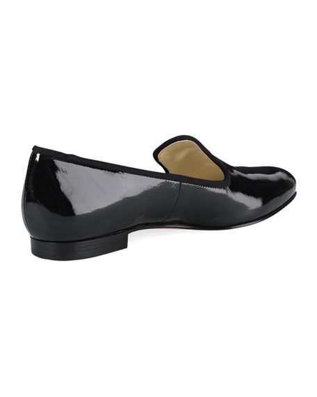 Sabrina Patent Smoking Slipper, Black