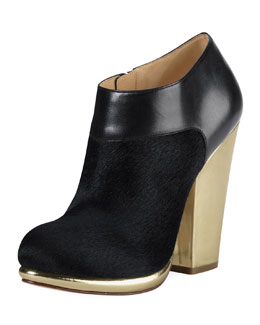 Cole Haan Sophie Metallic-Heel Calf Hair Bootie