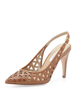 Diane von Furstenberg Addison Lasercut Leather Slingback