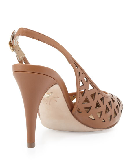 Addison Lasercut Leather Slingback
