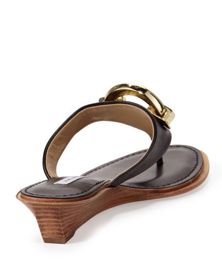 Tiles Ornament Demi-Wedge Thong Sandal, Black