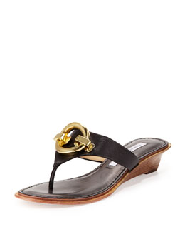 Diane von Furstenberg Tiles Ornament Demi-Wedge Thong Sandal, Black
