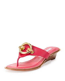 Diane von Furstenberg Tiles Ornament Demi-Wedge Thong Sandal, Raspberry